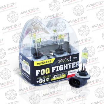 Лампа Avantech FOG FIGHTER H27/2 12V 50W (100W) 3000K (ярко-желтый свет) 2шт  AB3028