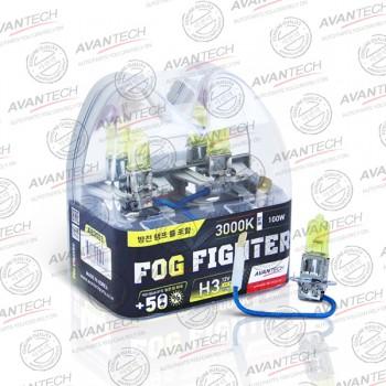 Лампа Avantech FOG FIGHTER H3 12V 55W (100W) 3000K (ярко-желтый свет) 2шт AB3003