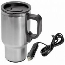 Термокружка (чайник автомобильный) с подогревом  AIRLINE нержавейка/пластик, 450 мл, 12V/24W   ABK-12-10