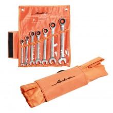 Набор ключей комбинированных трещёточных 7 предметов, сумка AT-7-12