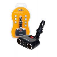 Разветвитель трансформер на 2 гнезда + 2 USB 8А  100Вт  ASP-2TU-08
