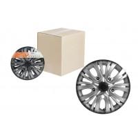 Колпаки колесные 15 дюймов Лион +, серебристо-черный, карбон 2шт AWCC-15-02