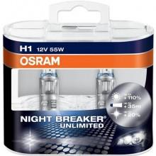 Автолампа галогенная Osram H1 Night Breaker +110% 12V 55W 2шт  64150NBUDUOBOX