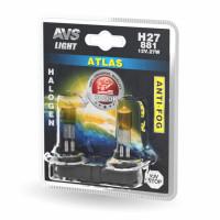 Лампа галогенная AVS ATLAS ANTI-FOG / желтый H27/881 12V.27W (блистер, 2 шт.)