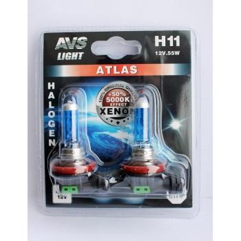 Лампа галогенная AVS ATLAS  H11 5000К 12V 55W 2шт. A78565S