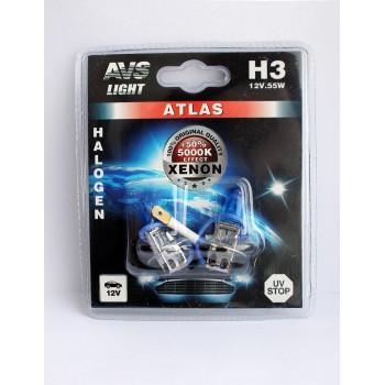 Лампа галогенная AVS ATLAS H3 5000K 12V 55W 2шт. A78568S