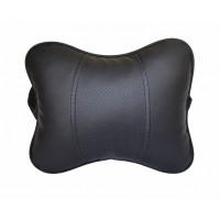 Подушка на подголовник из эко кожи увеличенного размера, черная 77195