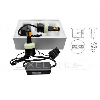 Лампа светодиодная LED T20 (7440) 40W (CREE) ДХО+Поворот (Белый+Желтый)