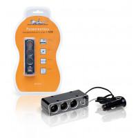 Разветвитель прикуривателя на 3 гнезда + USB   5А  60Вт ASP-3U-07