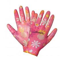 Перчатки нейлоновые женские с цельным полиуретановым покрытием ладони AWG-NW-09