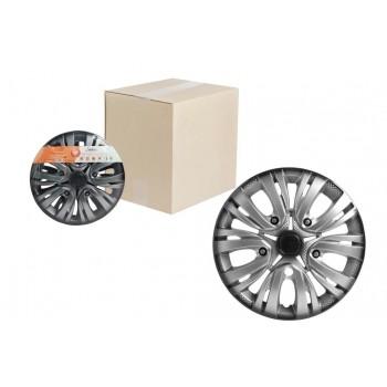 Колпаки колесные 14 дюймов Лион +, серебристо-черный, карбон 2шт AWCC-14-02