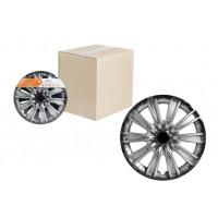 Колпаки колесные 15 дюймов Торнадо +, серебристо-черный, карбон 2шт AWCC-15-07