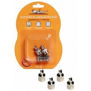 Колпачки на шинный вентиль с ключом, хром, металл  AVC-02
