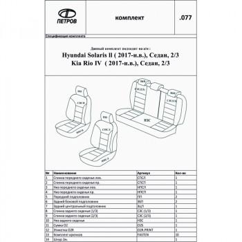"""Автомобильные чехлы  Петров """"Орегон"""" Hyundai Solaris II / Kia Rio IV черный; экокожа E077B"""