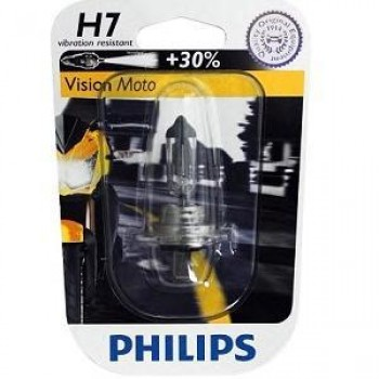 Лампа PHILIPS H7 Vision Moto +30% 12V 55W Px26d  12972PRBW