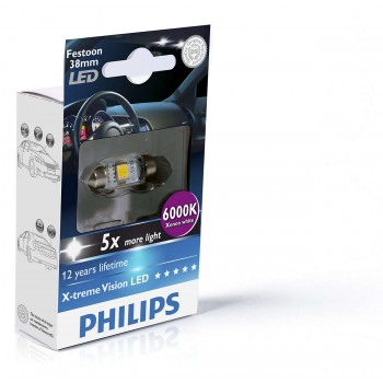 Лампа автомобильная Philips C5W 12V-1W  Festoon X-tremeVision 128596000KX1