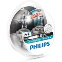 Лампа галогенная PHILIPS  H4 (60/55W) P43t-38 X-treme Vision +130% 3700K  12V 2шт 12342XV+ S2