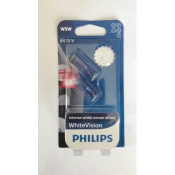 Лампа автомобильная Philiips W5W 12v-5w (w2, 1x9, 5d) White Vision (2шт.) 12961NBVB2