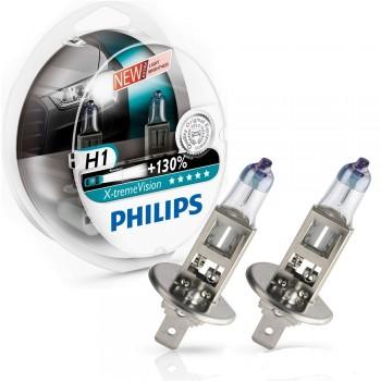 Лампа PHILIPS X-treme Vision H1 12V 55W 2шт. 12258XV+S2