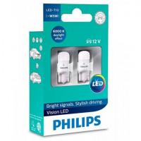 Лампа светодиодная PHILIPS Vision LED T10 W5W 6000K 12V 1W 11961ULWX2